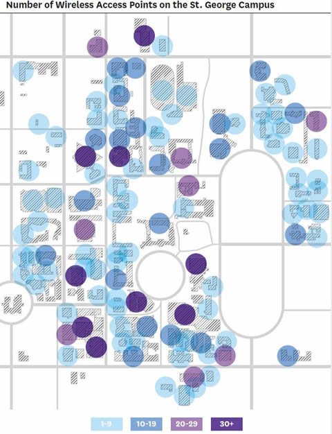Map showing how wifi signals will be distributed across U of T campus.