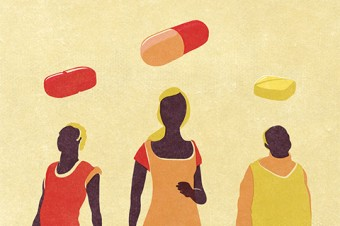Illustration of human figures with pills above their heads.