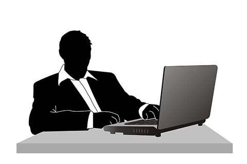 Illustration of a figure using a laptop computer.