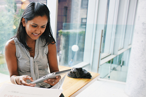 Image of a student using an iPad