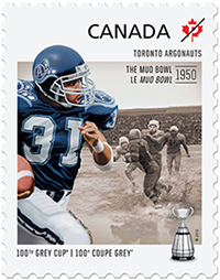 Image of a stamp showing a football player to commemorate the Mud Bowl, CFL
