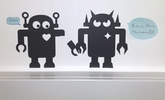 Photo of a cut-out image of a robot.