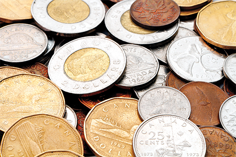 Photo of Canadian coins.