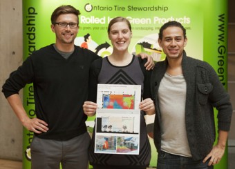 U of T landscape architecture students Gregory Bunker, Jessica Wagner and Daniel Garcia Marquez hold their winning design