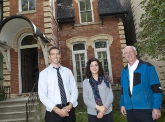 Ryerson University professor Russell Richman, PhD candidate Ekaterina Tzekova and U of T engineering professor Kim Pressnail at 31 Sussex Avenue
