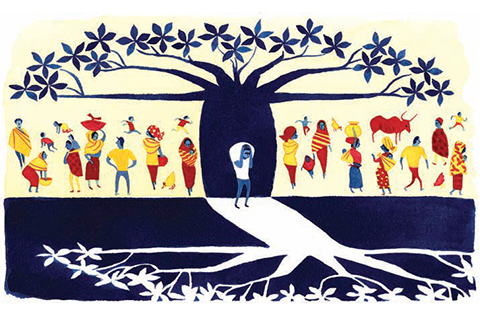 Illustration of people under a tree in the light with an individual who is sad directly under the tree in opposite colours.