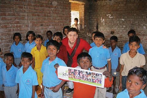 Tarik Khadri with children in Bihar