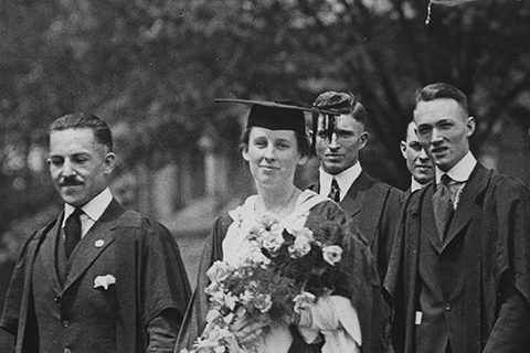 Esther Hill in procession with classmates