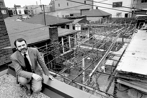 Michael Hough on a Toronto rooftop in 1985