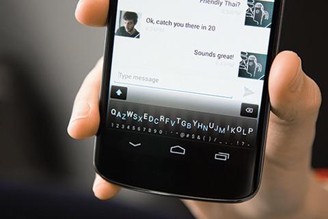 Photo of Minuum keyboard on a smart phone.
