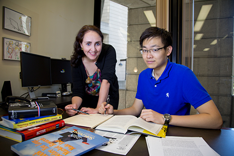 Librarian Jacqueline Whyte Appleby and student Tony Ding.