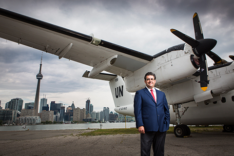 Photo of Antoine Pappalardo in front of a UN plane.