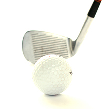 Photo of a golf ball and club.