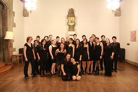 Group photo of the Hart House Jazz Choir, better known as Onoscatopoeia.