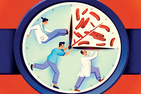 Illustration of medical professionals attempting to capture disease in a book.