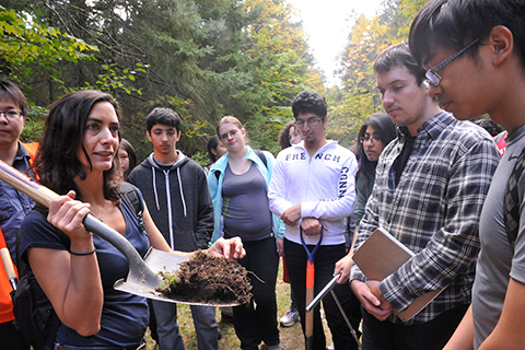 Professor Marney Isaac (PhD 2008) teaches students about nutrient cycles and plant-soil interactions.