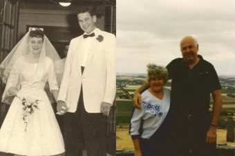Photos of Jim and Sheila Latime: one of their wedding and one current, years later.