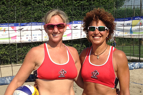 Laura Inward (left) and teammate Wanda Guenette in Torino in 2013.