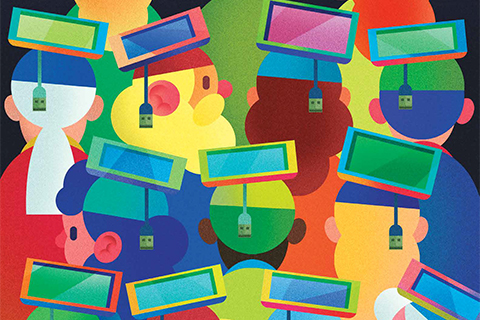 Illustration of mobile devices and charging cables as square academic convocation hats.
