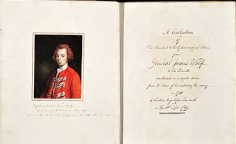 James Wolfe Ephemera - inside cover of the book.
