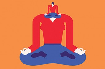 Illustration showing a person in lotus meditation pose with the same person as its own head.