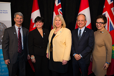 From left: Michael Apkon, Sick Kids; Michelle DiEmanuele, Trillium Health Partners; Deb Matthews, minister of health and long-term care; U of T President Meric Gertler; Catherine Zahn, CAMH