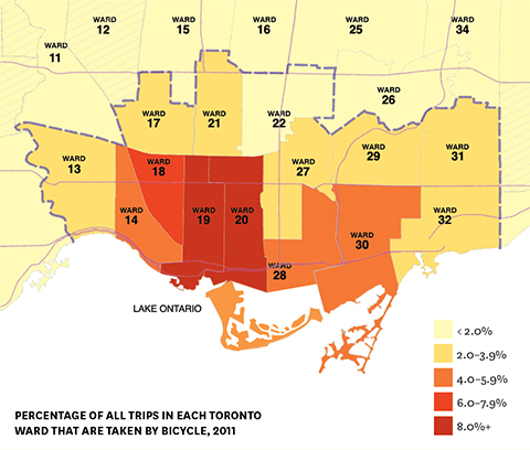 Infographic: Percentage of all trips in each Toronto ward that are taken by bicycle, 2011.
