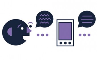 Illustration of a face speaking into a device which turns that speech into text.