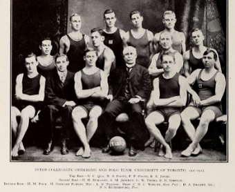 Photo of 1914 Varsity swim team.