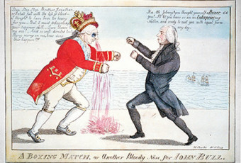 Illustration of two men in 18th century clothing having a boxing match.