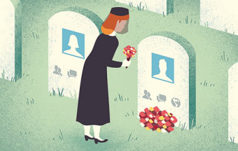 An illustration of a woman at a grave with a social media profile photo.