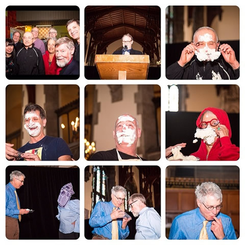 Photos of professors with pie on their faces.