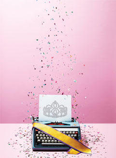 Illustration of a typewriter with confetti.