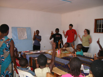 Students in the classroom in Cameroon.