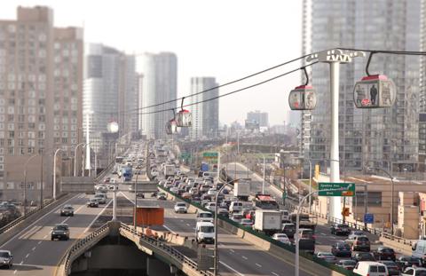 Photo of Toronto skyline over Gardiner Expressway.