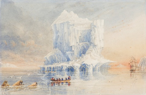HMS Terror near Baffin Island in 1836; painting by Admiral Sir George Back