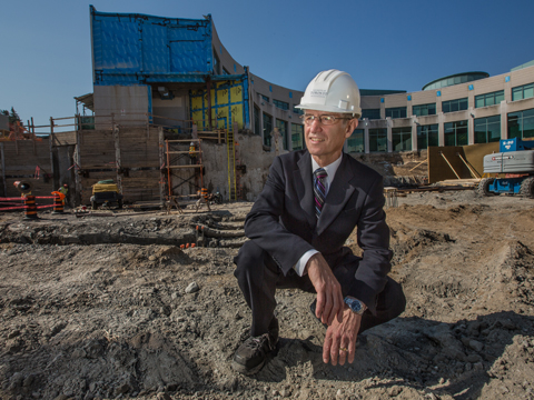 Prof. Hugh Gunz at the Institute for Management and Innovation building site earlier this year
