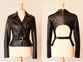 Photo of a leather jacket from both sides.