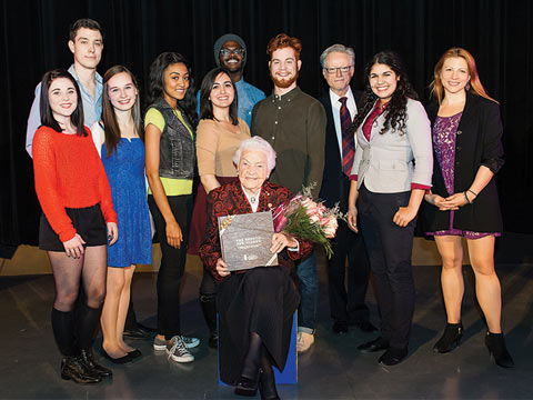 Photo of Hazel McCallion with UTM students and faculty.