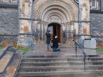 Photo shows the proposal at the steps of UC.
