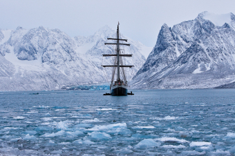 The ship Antigua, carrying photographer Daniel Kukla and a group of artists and scientists on a 15-day expedition, anchors in the Arctic Ocean off the coast of Svalbard – about halfway between Norway and the North Pole.