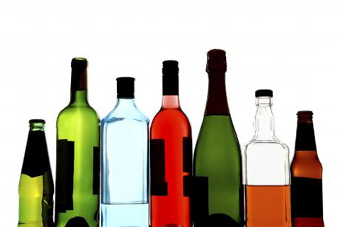Photo of alcohol bottles.