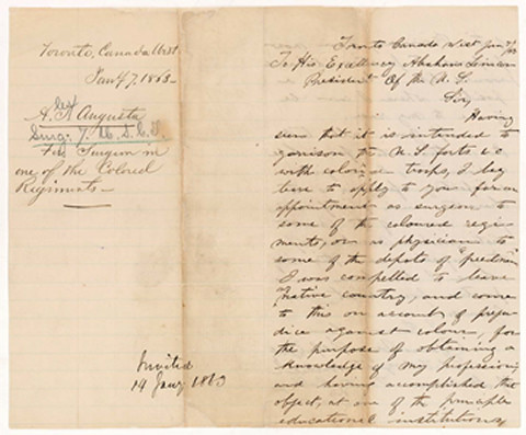 Jan 7, 1863: Letter from Dr. Augusta to President Lincoln. Photo: National Archives and Records Administration
