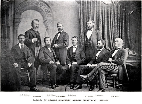 Howard University Medical College faculty, 1869-1870 (Augusta seated at far left). Photo: National Library of Medicine.