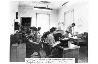 Camp X Teletype Room, c.1944-1946. Photo: Courtesy of Whitby Archives.