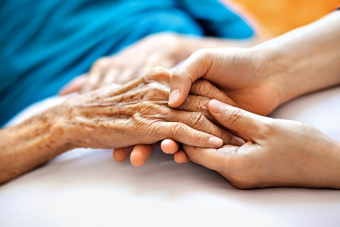 Photo of young hands holding an elderly person's hand.