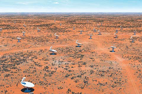 Artist's rendering of the Square Kilometre Array radio telescope in Australia, to be launched in 2018. Photo: SKA Organisation