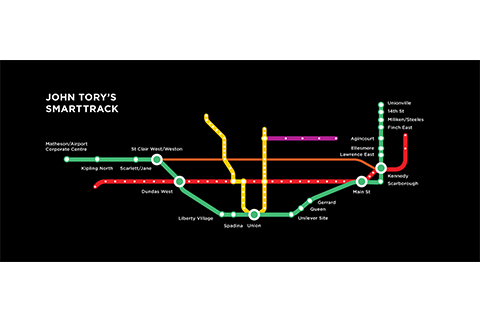 "SmartTrack will run in a ""U"" shape, to relieve pressure on the Yonge subway line. ""The eastern side of the 'U' is a no-brainer,"" notes U of T's Eric Miller. ""The western half is a much messier thing."""