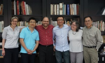 Left to right: Jill Caskey, Qingquan Zou, Adam Cohen, Yudong Wang, Linda Safran, Qingquan Li at Guangzhou Academy of Fine Art. Photo: Xian Xiaoshan