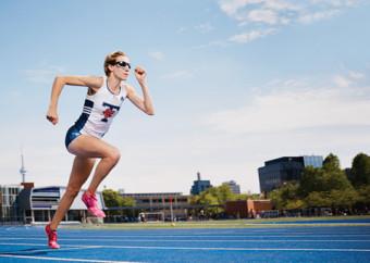 Photo of Sasha Gollish sprinting.